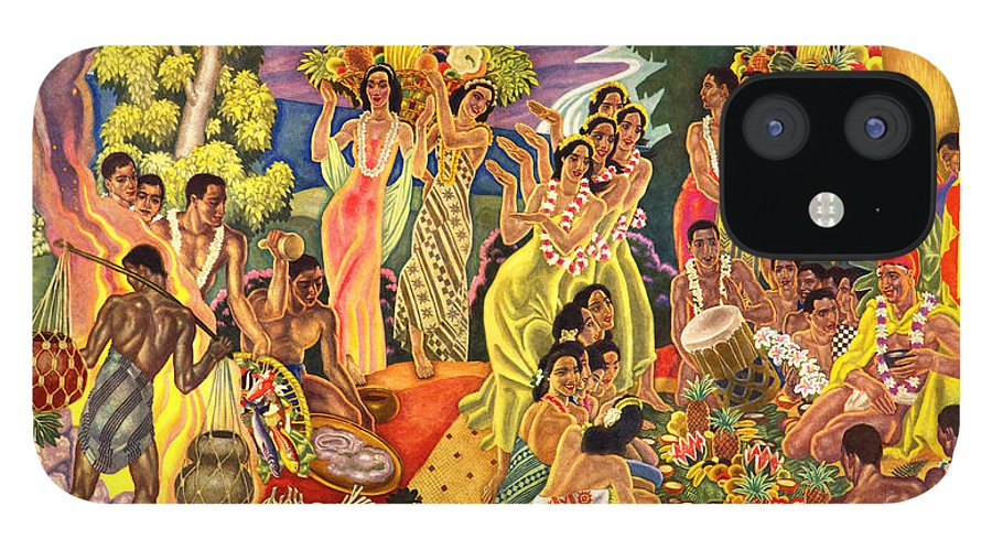 Hawaii Greeting Cards IPhone 12 Case featuring the painting Island Feast by James Temple