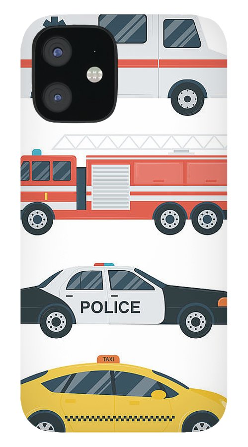 Ambulance IPhone 12 Case featuring the digital art Isolated Transport Icons. Police Car by Switchpipipi