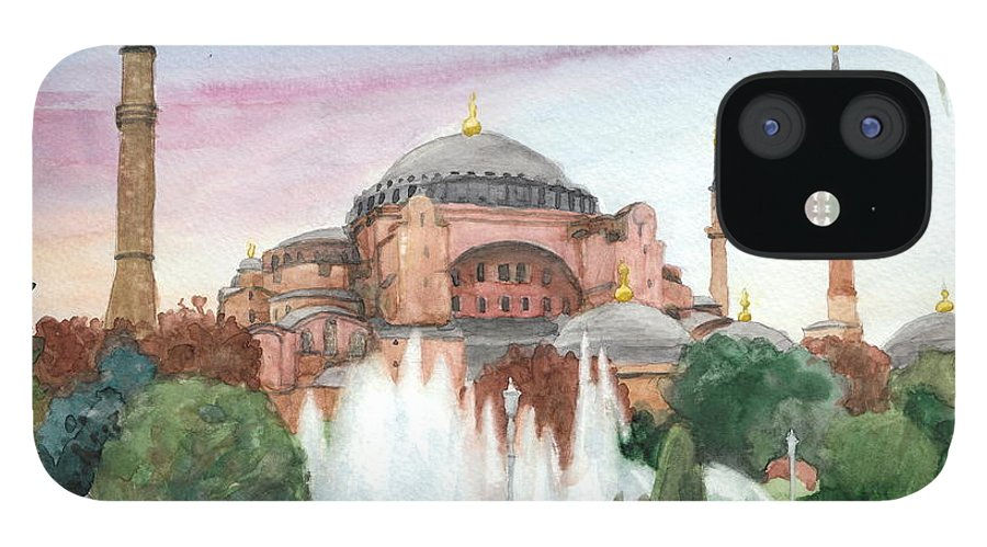 <a Href=http://miketheuer.com Target =_blank>www.miketheuer.com</a> Istanbul Mosque Watercolor Painting IPhone 12 Case featuring the drawing Istanbul Mosque Watercolor Painting by Mike Theuer