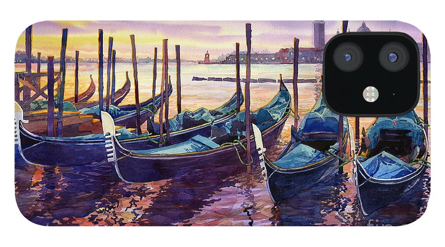Watercolor IPhone 12 Case featuring the painting Italy Venice Early Mornings by Yuriy Shevchuk