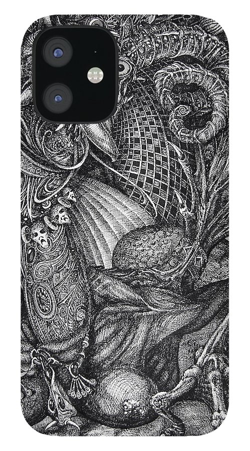 Surrealism IPhone 12 Case featuring the drawing Jabberwocky by Otto Rapp
