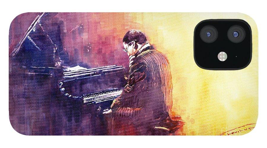 Jazz iPhone 12 Case featuring the painting Jazz Herbie Hancock by Yuriy Shevchuk