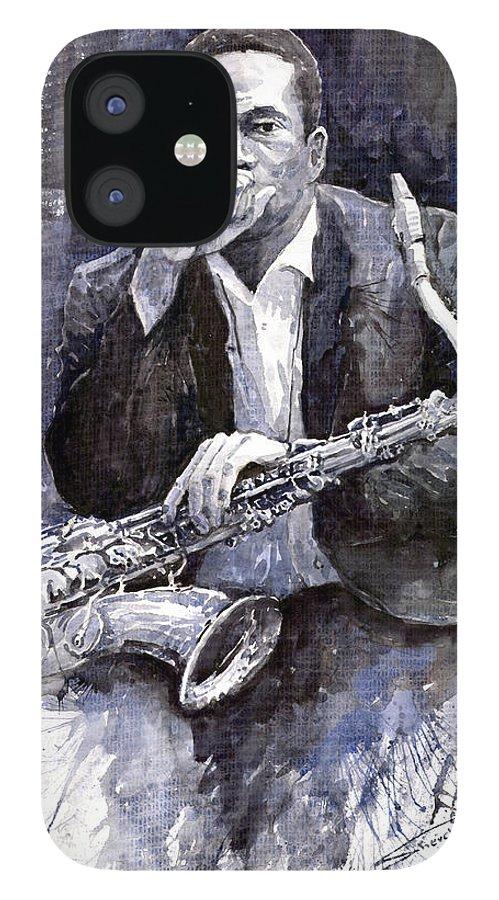 Jazz IPhone 12 Case featuring the painting Jazz Saxophonist John Coltrane black by Yuriy Shevchuk