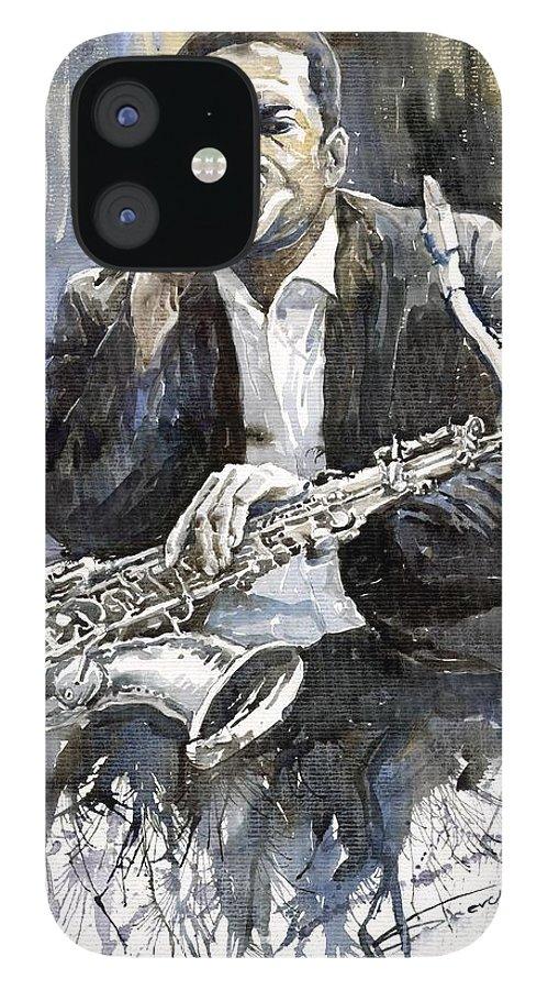 Jazz IPhone 12 Case featuring the painting Jazz Saxophonist John Coltrane yellow by Yuriy Shevchuk
