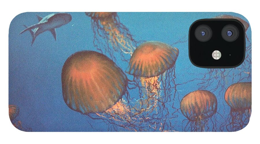 Underwater IPhone 12 Case featuring the painting Jellyfish and Mr. Bones by Philip Fleischer