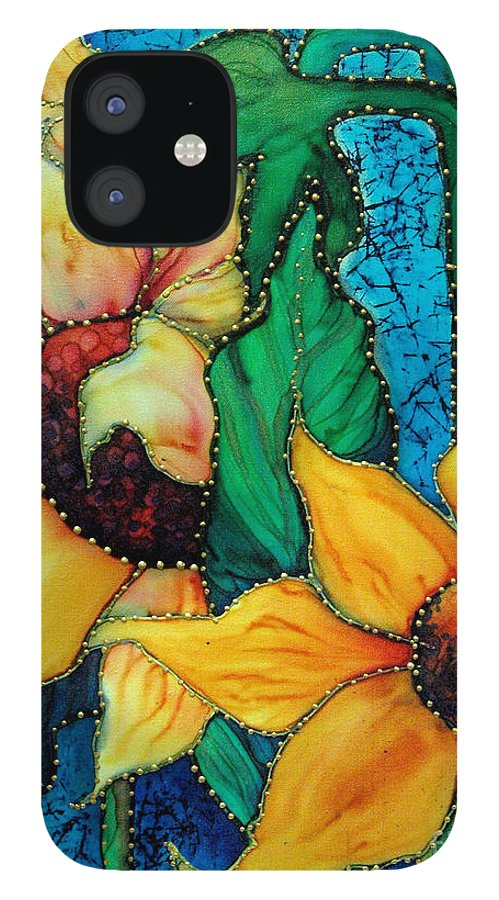 Silk Painting IPhone 12 Case featuring the painting Jeweled Sassy Sunflowers by Francine Dufour Jones