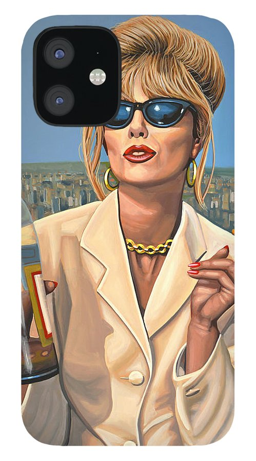 Joanna Lumley IPhone 12 Case featuring the painting Joanna Lumley as Patsy Stone by Paul Meijering