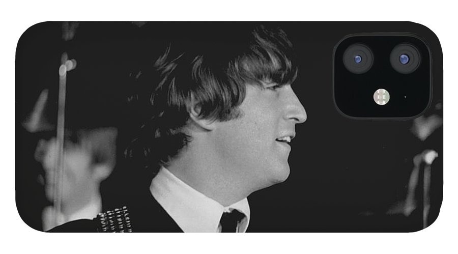 Beatles IPhone 12 Case featuring the photograph John Lennon, Beatles Concert, 1964 by Larry Mulvehill