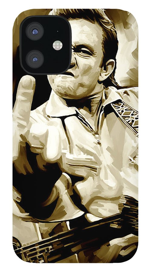 Johnny Cash Paintings IPhone 12 Case featuring the painting Johnny Cash Artwork 2 by Sheraz A
