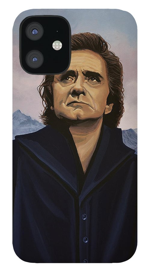 Johnny Cash IPhone 12 Case featuring the painting Johnny Cash Painting by Paul Meijering