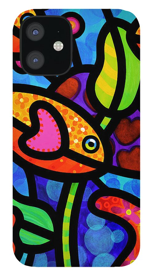 Fish IPhone 12 Case featuring the painting Kaleidoscope Reef by Steven Scott