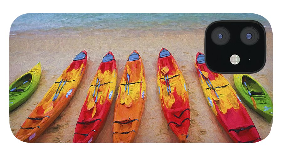Kayaks iPhone 12 Case featuring the photograph Kayaks at Manly by Sheila Smart Fine Art Photography