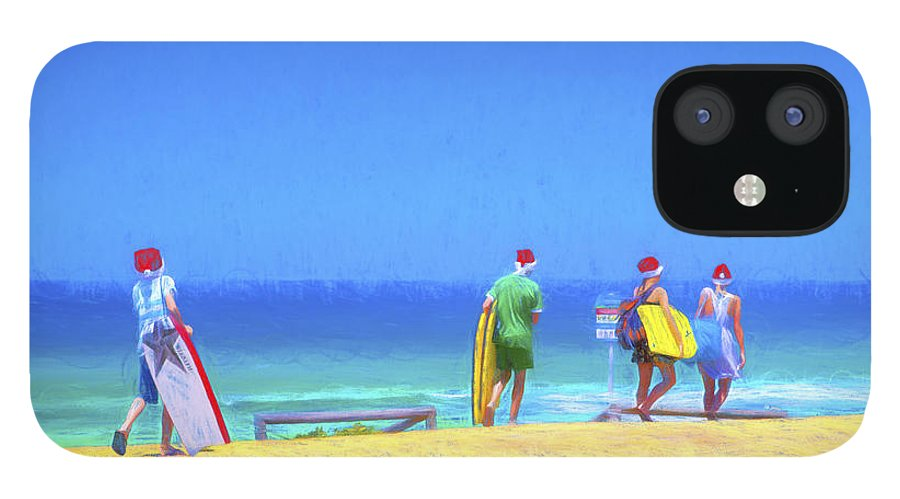 Children In Santa Hats IPhone 12 Case featuring the photograph Kids in santa hats at beach by Sheila Smart Fine Art Photography
