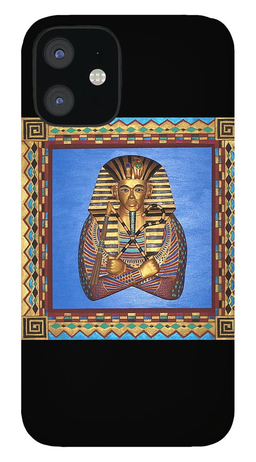 Sculpture IPhone 12 Case featuring the mixed media KING TUT - Handcarved by Michael Pasko