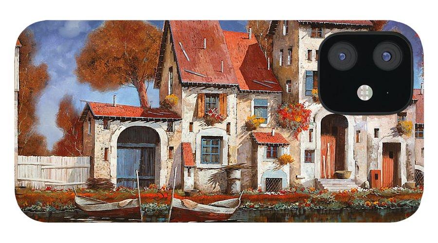 Little Village iPhone 12 Case featuring the painting La Cascina Sul Lago by Guido Borelli
