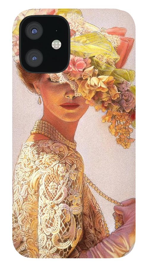 Portrait iPhone 12 Case featuring the painting Lady Victoria Victorian Elegance by Sue Halstenberg