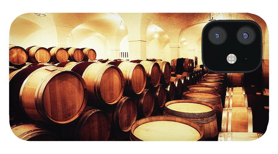 Alcohol IPhone 12 Case featuring the photograph Large Winery Cellar Filled With Oak by Rapideye