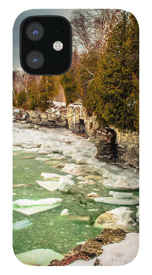 Cave Point IPhone 12 Case featuring the photograph Late Winter At Cave Point by Ever-Curious Photography