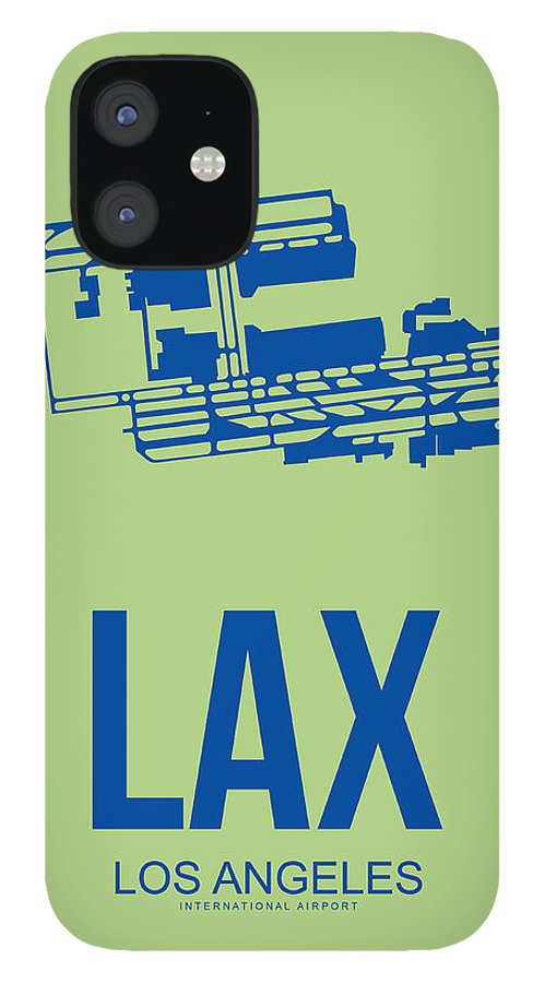 Los Angeles iPhone 12 Case featuring the digital art LAX Airport Poster 1 by Naxart Studio