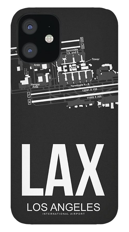 Los Angeles iPhone 12 Case featuring the digital art LAX Los Angeles Airport Poster 3 by Naxart Studio