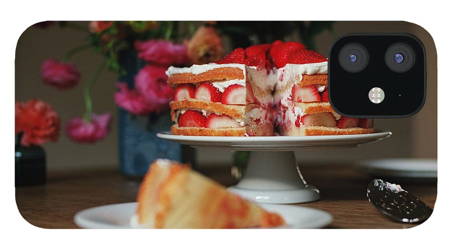 Vanilla IPhone 12 Case featuring the photograph Layered Strawberry Cake With Background by Katie Baxter