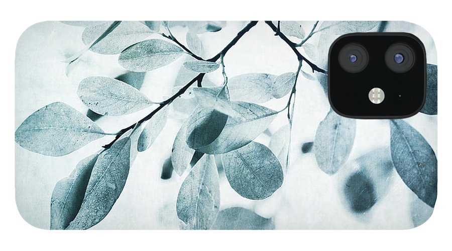 Foliage IPhone 12 Case featuring the photograph Leaves In Dusty Blue by Priska Wettstein