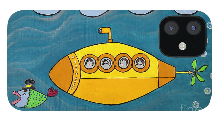 The Beatles IPhone 12 Case featuring the painting Lets Sing The Chorus Now - the Beatles Yellow Submarine by Ella Kaye Dickey
