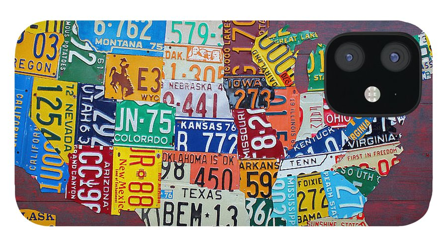 Art IPhone 12 Case featuring the mixed media License Plate Map of The United States by Design Turnpike