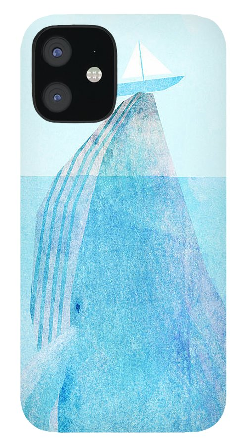 Whale IPhone 12 Case featuring the drawing Lift by Eric Fan
