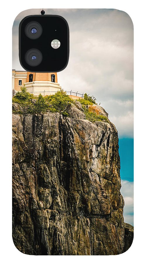 Two Harbors IPhone 12 Case featuring the photograph Lighthouse On Split Rock by Ever-Curious Photography