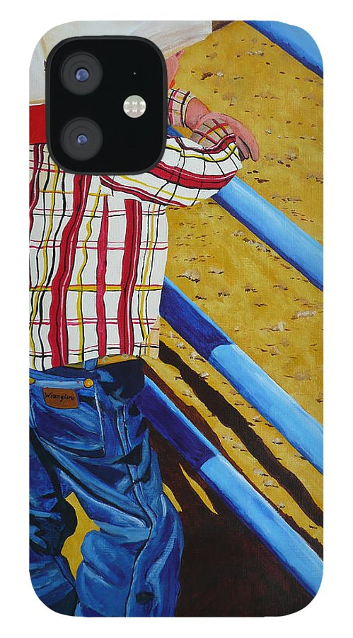 Cowboy IPhone 12 Case featuring the painting Lil Wrangler by Anthony Dunphy