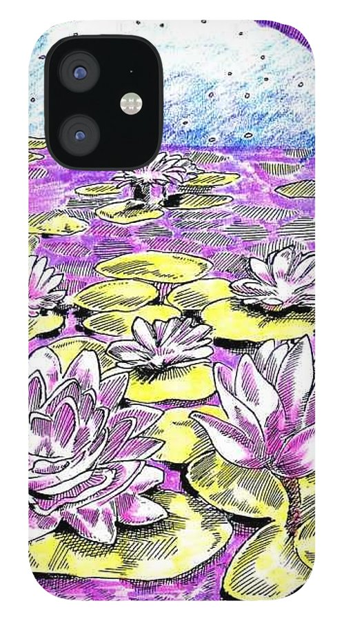 Lilies Of The Lake IPhone 12 Case featuring the drawing Lilies of the Lake by Seth Weaver