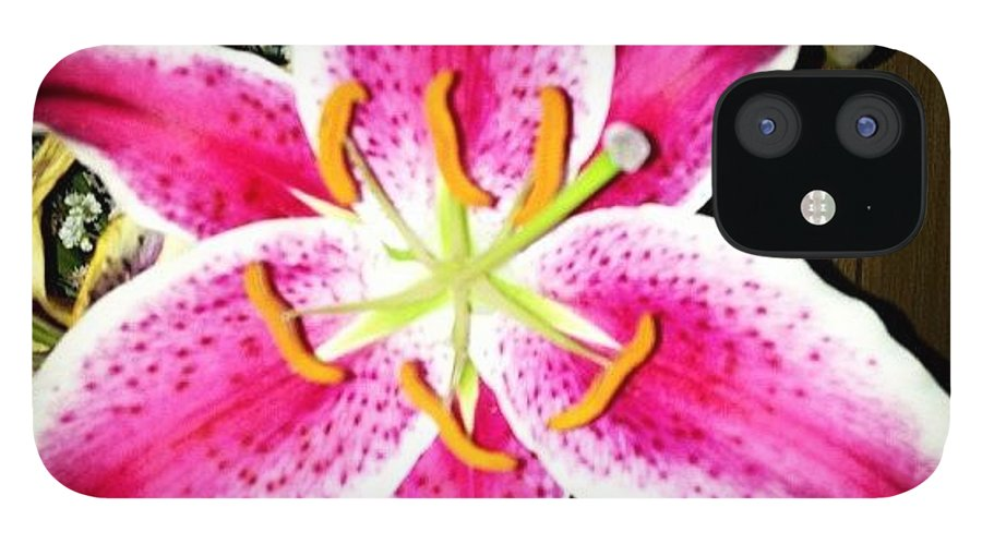 Pink IPhone 12 Case featuring the photograph #lily #closeup #pretty #flower by Amber Campanaro