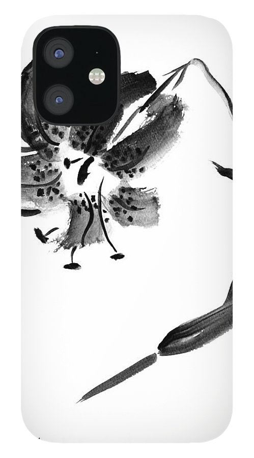Lily IPhone 12 Case featuring the painting Lily In Black by Patricia Novack