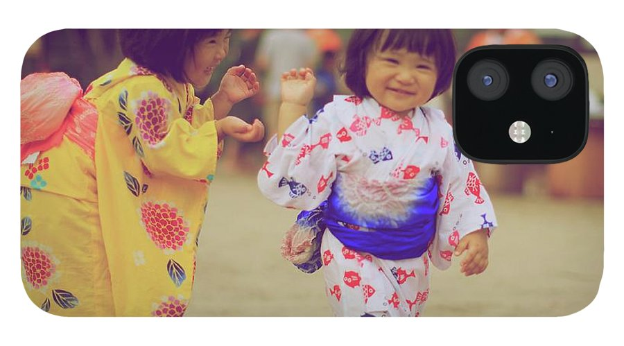 Tottori Prefecture IPhone 12 Case featuring the photograph Little Girls At A Festival by Marvin Fox
