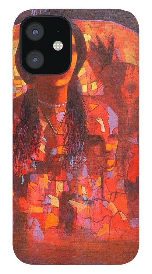 Figures IPhone 12 Case featuring the painting Little Hawk Vision by J W Kelly