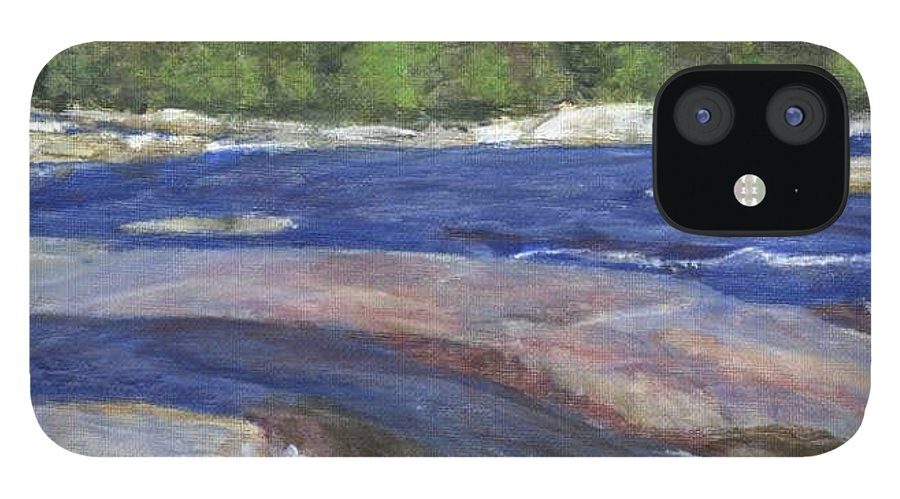 Moose River IPhone 12 Case featuring the painting Little Rapids by Sheila Mashaw