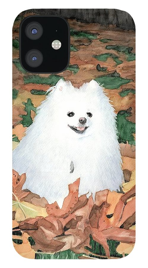 <a Href=http://miketheuer.com Target =_blank>www.miketheuer.com</a> Little White Dog Watercolor Portrait iPhone 12 Case featuring the painting Little White Dog Watercolor Portrait by Mike Theuer