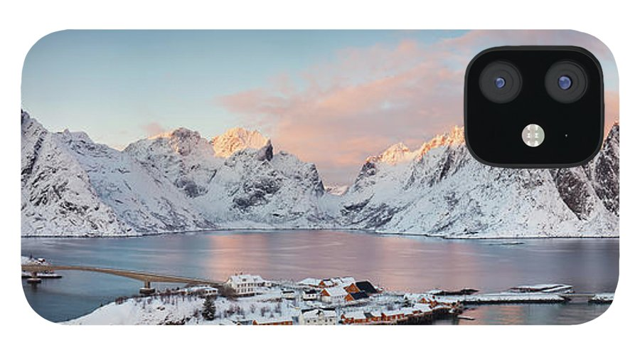 Tranquility iPhone 12 Case featuring the photograph Lofoten Islands Winter Panorama by Esen Tunar Photography