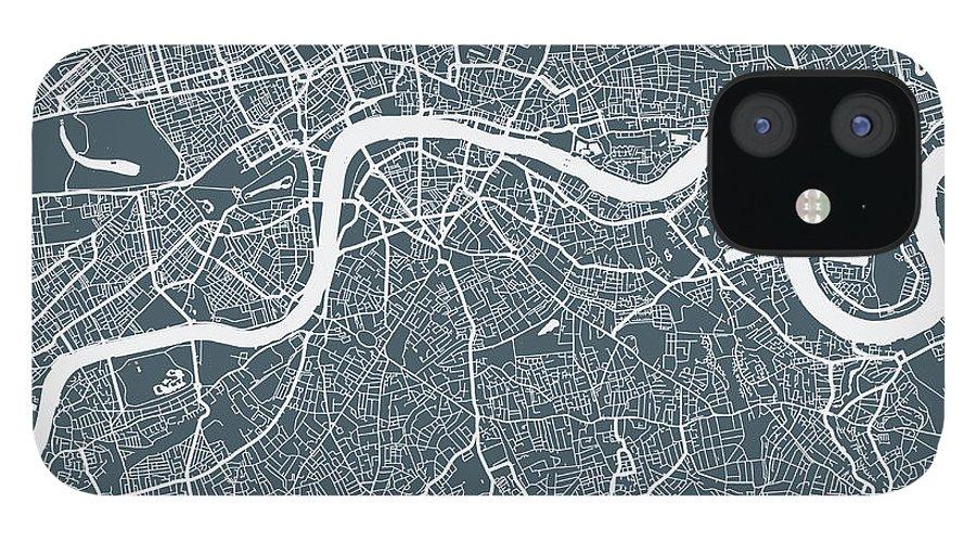 Art IPhone 12 Case featuring the digital art London City Map by Mattjeacock