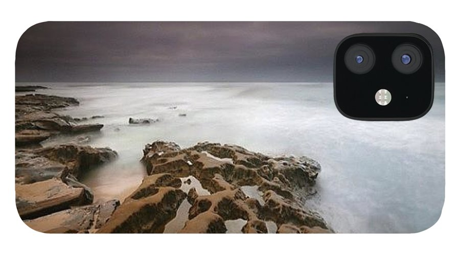 IPhone 12 Case featuring the photograph Long Exposure Sunset On A Dark Stormy by Larry Marshall