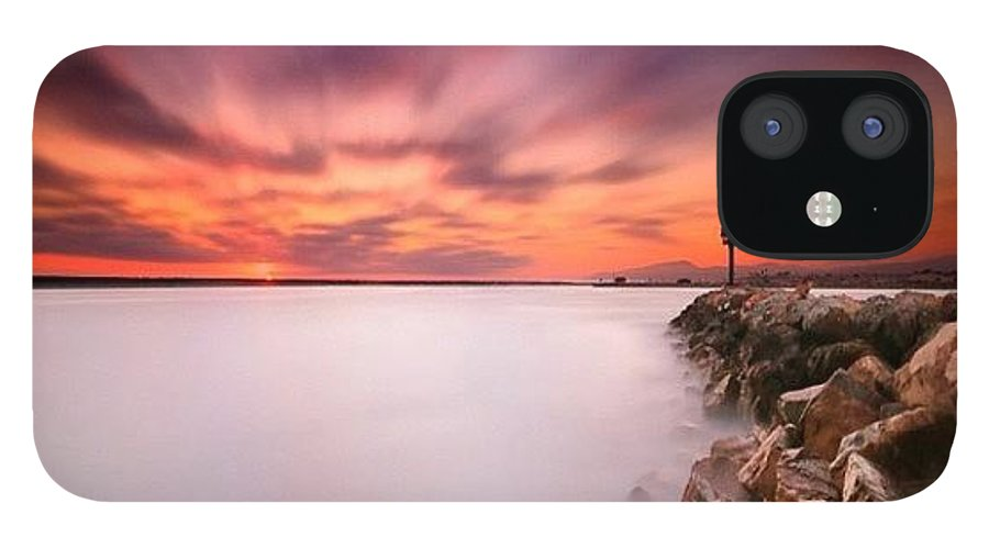 IPhone 12 Case featuring the photograph Long Exposure Sunset Shot At A Rock by Larry Marshall