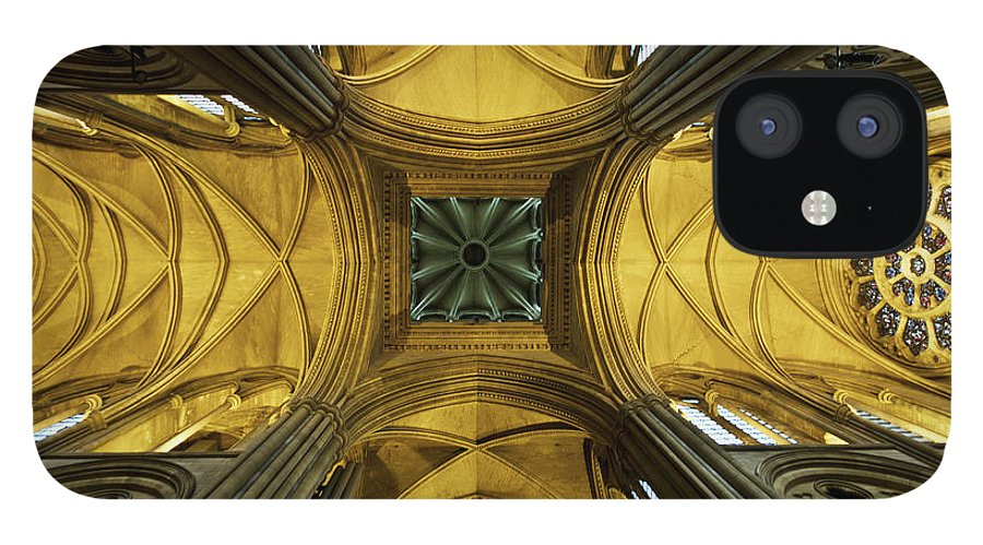 Arch IPhone 12 Case featuring the photograph Looking Up At A Cathedral Ceiling by James Ingham / Design Pics