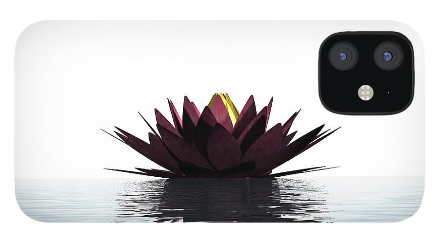 White Background IPhone 12 Case featuring the photograph Lotus Flower Floating On The Water by Artpartner-images