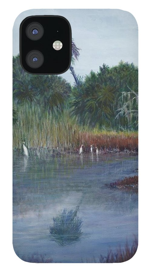 Landscape IPhone 12 Case featuring the painting Low Country Social by Ben Kiger