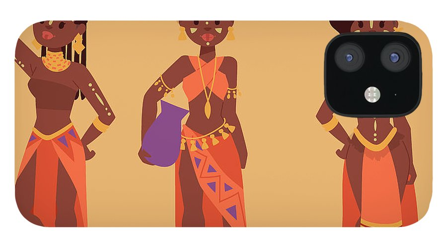 Kenya IPhone 12 Case featuring the digital art Maasai African People In Traditional by Vectormoon