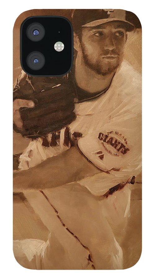 Madison Bumgarner IPhone 12 Case featuring the painting Madbum 2012 by Darren Kerr