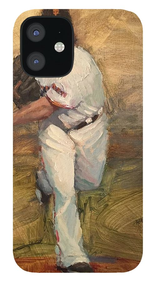 Madison Bumgarner IPhone 12 Case featuring the painting Madbum Warmup Sketch by Darren Kerr