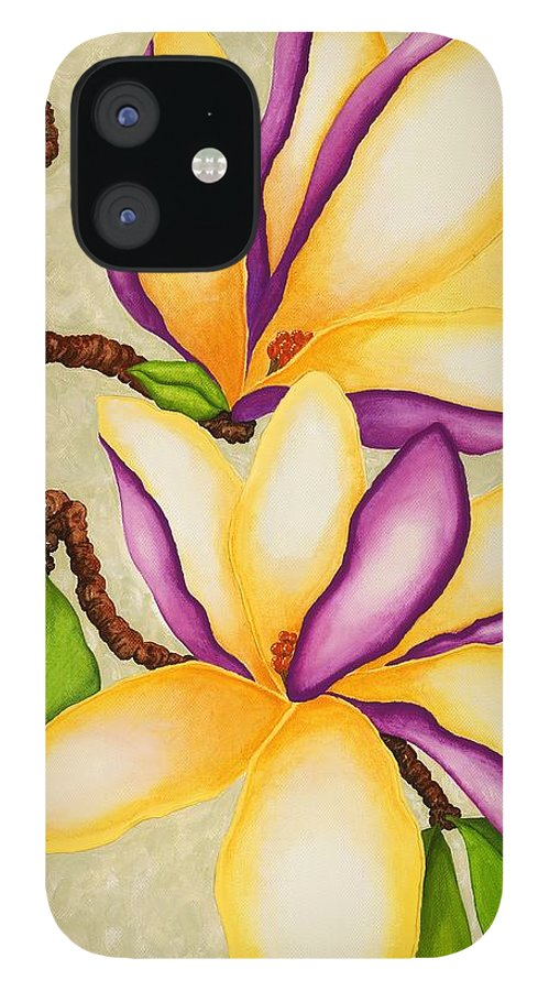 Two Magnolias IPhone 12 Case featuring the painting Magnolias by Carol Sabo
