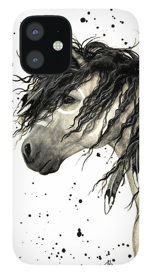 Mustang Horse Art IPhone 12 Case featuring the painting Majestic Grey Spirit Horse #44 by AmyLyn Bihrle